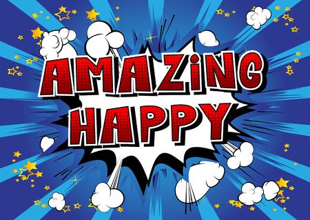 놀라운 행복 - 추상적 인 배경에 만화 스타일 책 단어.