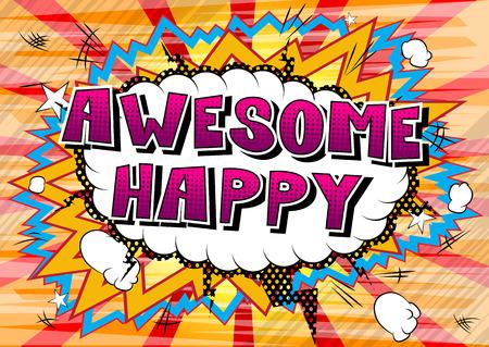 굉장 행복 - 추상적 인 배경에 만화 스타일 책 단어. 일러스트