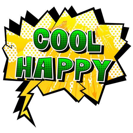 멋진 행복 - 추상적 인 배경에 만화 스타일 책 단어. 일러스트