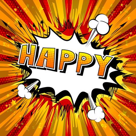 Happy - Comic book style word on abstract background. Çizim