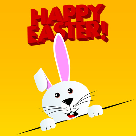 Easter bunny with Happy Easter text on the background. Vector cartoon character illustration.