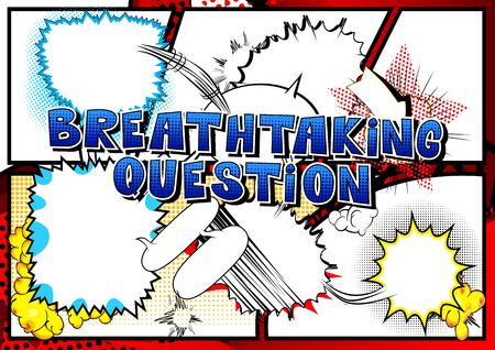 抽象的な背景に息をのむような質問漫画のスタイルの単語。  イラスト・ベクター素材