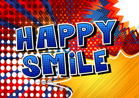 Happy Smile - Comic book style word on abstract background. Illusztráció