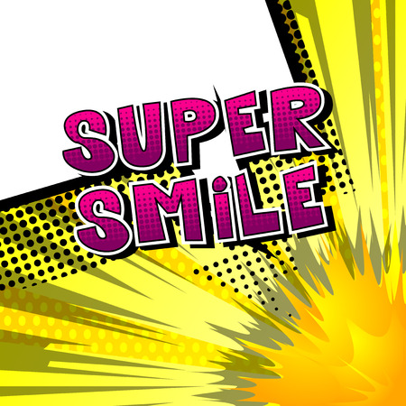 Super Smile - Comic book style word on abstract background. 向量圖像