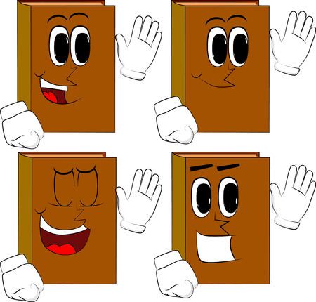 Books with waving hand. Cartoon book collection with happy faces. Expressions vector set.