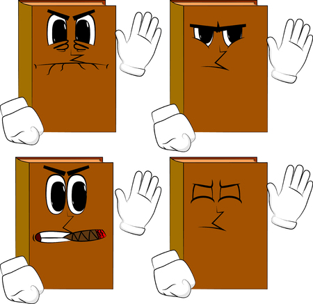 Books with waving hand. Cartoon book collection with angry faces. Expressions vector set.
