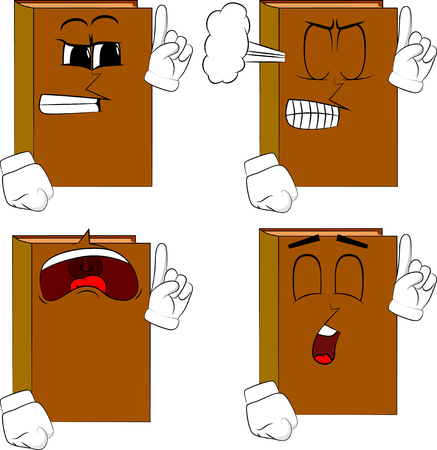 Books making a point. Cartoon book collection with angry and sad faces. Expressions vector set.