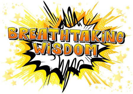 息をのむような知恵 - 抽象的な背景に漫画本スタイルの単語。