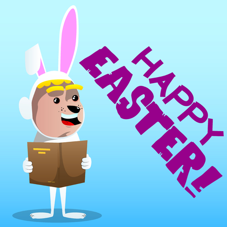 Boy dressed as Easter bunny reading a book. Vector cartoon character illustration.