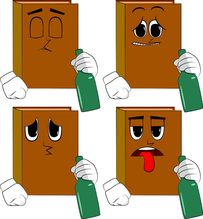 Books holding a bottle. Cartoon book collection with sad faces. Expressions vector set.