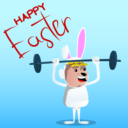 Boy dressed as Easter bunny lifting barbell. Vector cartoon character illustration.