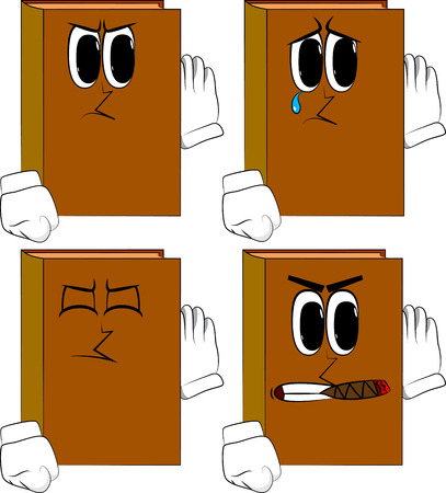 Books holds hand at his ear, listening. Cartoon book collection with angry and sad faces. Expressions vector set.