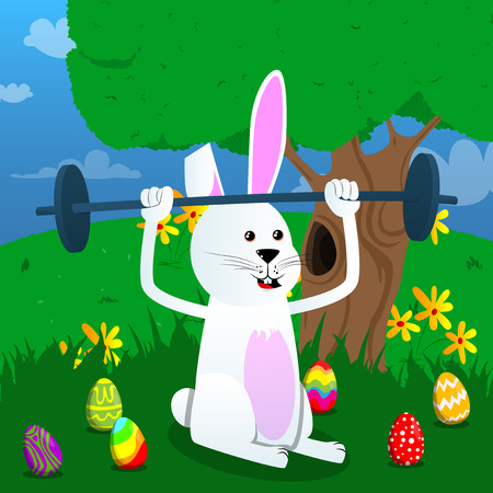Easter bunny lifting barbell. Vector cartoon character illustration.