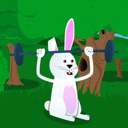 Easter bunny lifting barbell. Vector cartoon character illustration.