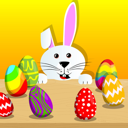 Easter bunny with colored eggs on a desk. Vector cartoon character illustration. Illustration