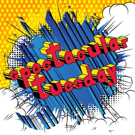 Spectaculaire Dinsdag - Stripboek stijl woord op abstracte achtergrond.
