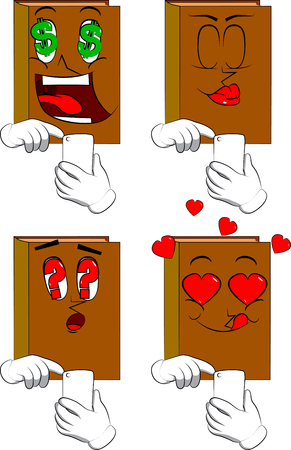 Books using a mobile phone. Cartoon book collection with various faces. Expressions vector set.