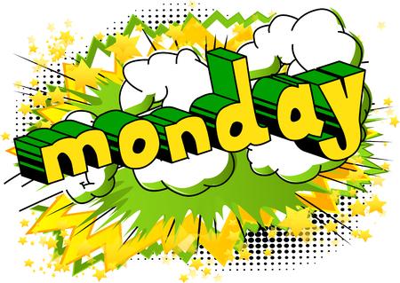 월요일, 추상적 인 배경에 만화 스타일 단어입니다. 일러스트