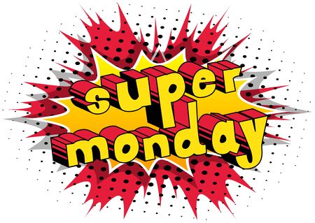 Super Monday  Comic book style word Illustration