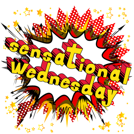 Sensational Wednesday - Comic book style word on abstract background.