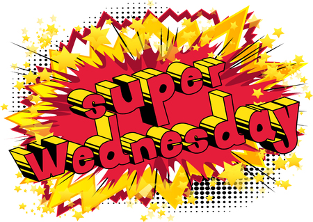 スーパー水曜日 - 抽象的な背景に漫画本スタイルの単語。