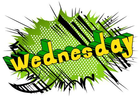 水曜日 - 抽象的な背景に漫画本スタイルの単語。