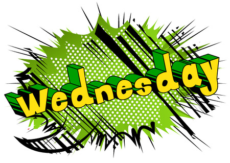 Wednesday - Comic book style word on abstract background.