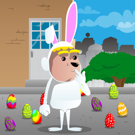 Boy dressed as Easter bunny holdin finger front of his mouth. Vector cartoon character illustration.