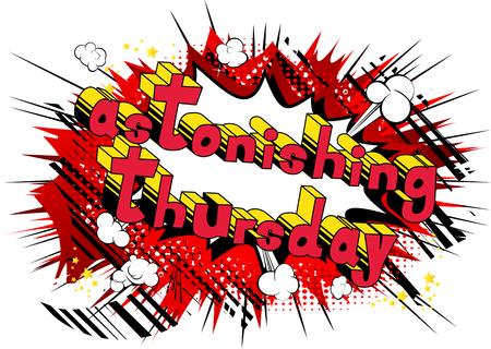 Verbazingwekkende donderdag-Comic book stijl woord op abstracte achtergrond.
