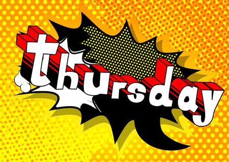Donderdag - Comic book stijl word op abstracte achtergrond. Stock Illustratie