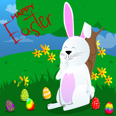Easter bunny holding finger front of his mouth. Vector cartoon character illustration.