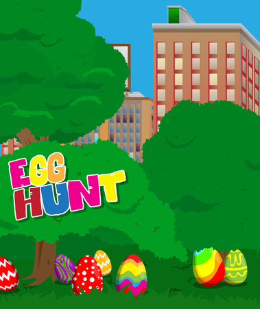 Easter egg hunt invitation with dyed eggs in the city park. Vector cartoon character illustration.