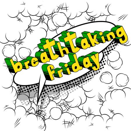 息をのむような金曜日 - 抽象的な背景に漫画本スタイルの単語。