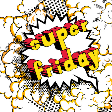 Super Friday Comic book style word on abstract background.