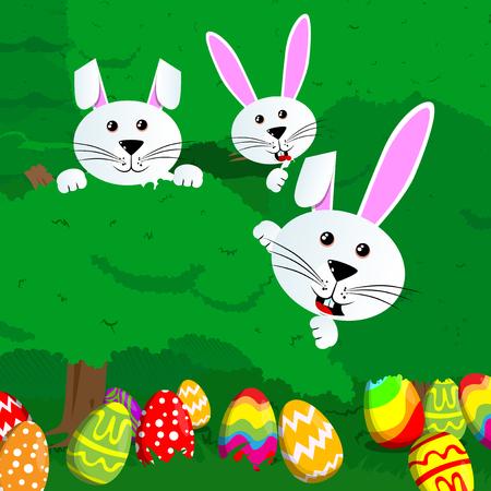 부활절 달걀 사냥 초대장 염색 된 계란과 토끼 녹색 나무와 관목. 벡터 만화 캐릭터 그림입니다.