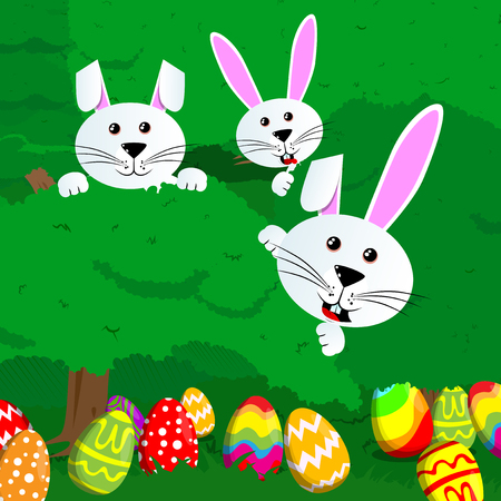 Easter egg hunt invitation with dyed eggs and rabbits with green trees and bushes. Vector cartoon character illustration. Vettoriali