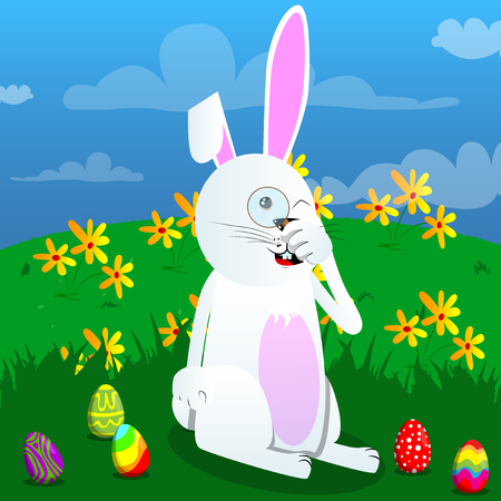 Easter bunny holding a magnifying glass. Vector cartoon character illustration. Illustration