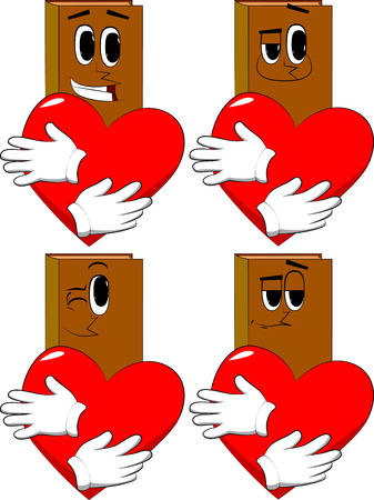 Books hugging big red heart. Cartoon book collection with happy faces. Expressions vector set. Illustration