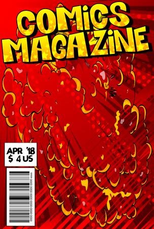 抽象的な爆発の背景を持つ編集可能な漫画本のカバー。  イラスト・ベクター素材