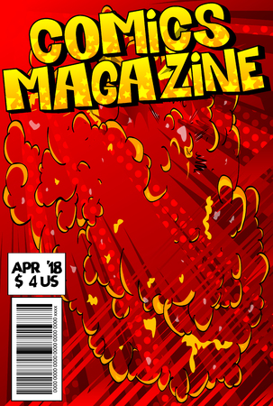Editable comic book cover with abstract explosion background. Stock fotó - 94777015