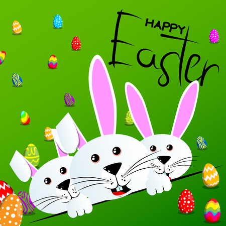 Bunny with Happy Easter text on green background Vector cartoon character illustration.