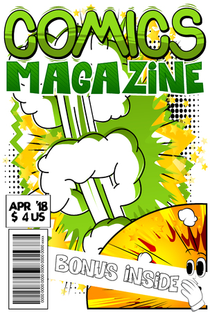 Comic book cover with abstract explosion