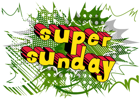 Super Sunday - Comic book style word on abstract background. Ilustração