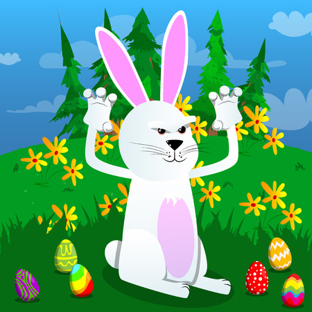Easter bunny is trying to scare you vector cartoon character illustration.