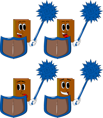Books holding a spiked mace and shield. Cartoon book collection with happy faces expressions vector set.
