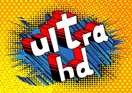 ウルトラHD - 抽象的な背景に漫画本スタイルのフレーズ。  イラスト・ベクター素材