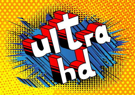Ultra HD - Comic book style phrase on abstract background. 版權商用圖片 - 95127544