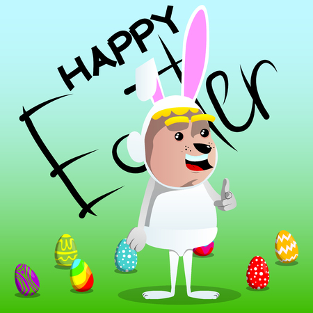 Boy dressed as Easter bunny pointing at the viewer with his hand. Vector cartoon character illustration.