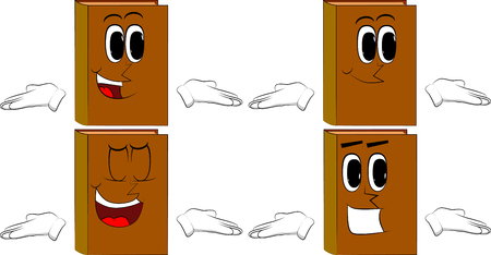 Books shrugs shoulders expressing dont know gesture. Cartoon book collection with happy faces. Expressions vector set.