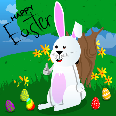 Easter bunny pointing at the viewer with his hand. Vector cartoon character illustration.